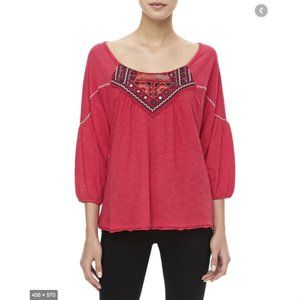 Free People Santa Fe Embroidered Top Blouse Size S